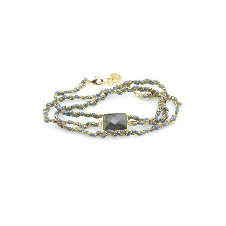 bracelet triple tours tresse labradorite ardoise
