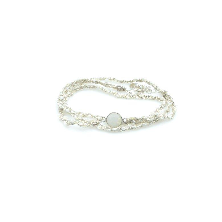 bracelet triple tours tresse pdl fils blanc argent