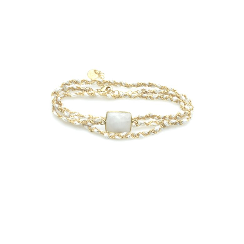 bracelet triple tours tresse pdl fils blanc plaqué or