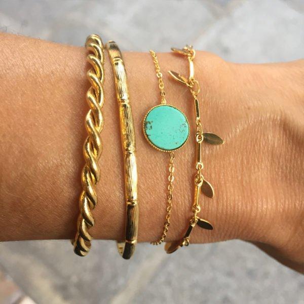 bracelet,emma,turquoise,jonc bambou,bracelet myosotys
