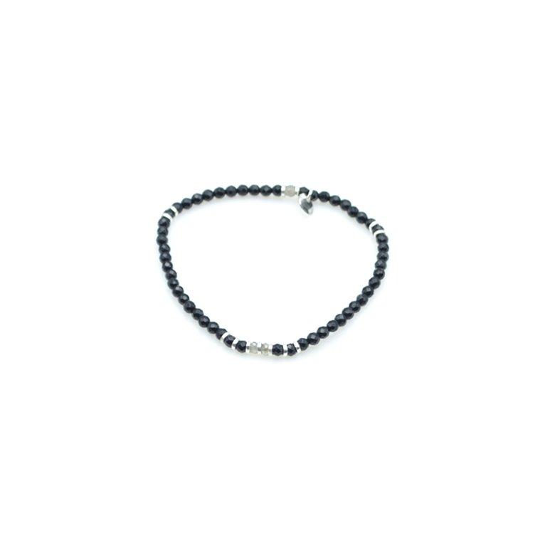 gal,bracelet,agate noire,argent,labradorite