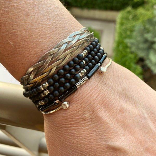 zen,bracelet,agate noire,argent,