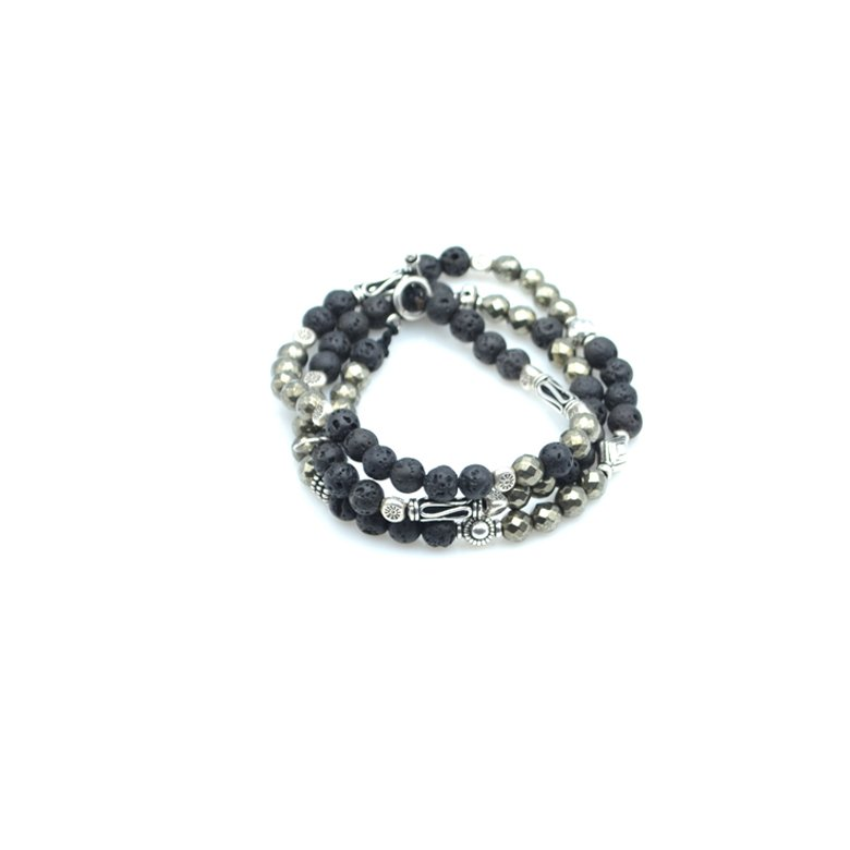 Bracelet triple tours, bracelet triples tours homme, bracelet pierre de lave, bracelet pierre de pyrite, bracelet en perle argent homme, créateur de bijoux fantaisie paris, bijoux fantaisie paris