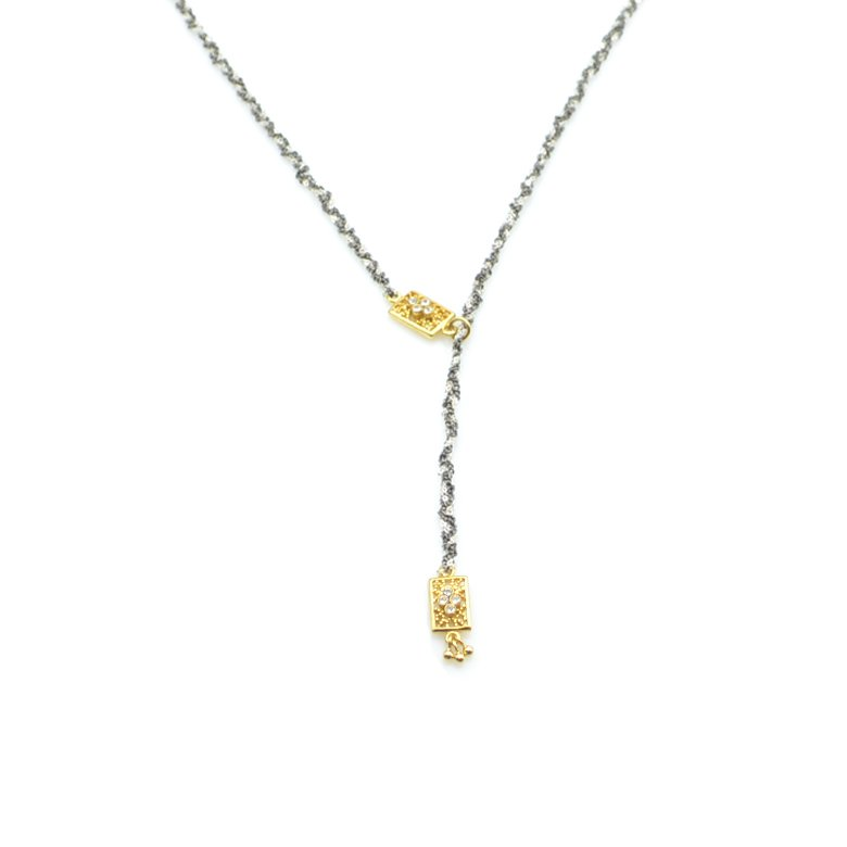 collier tréssé, tara,plaqué or,pepite bijoux,paris,rue st honoré,paris, créateur de bijoux paris.