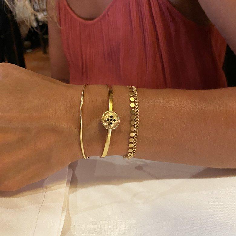 bijouterie fantaisie paris, bracelet jonc or, bracelet plaqué or, jonc boule, jonc en or femme, léa, pepitebijoux
