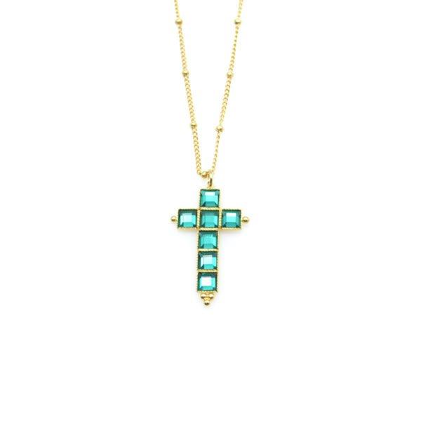 collier,croix,jésu,jérusalem pia,plaqué or,pepite bijoux,paris,rue st honoré,paris,emmeraude