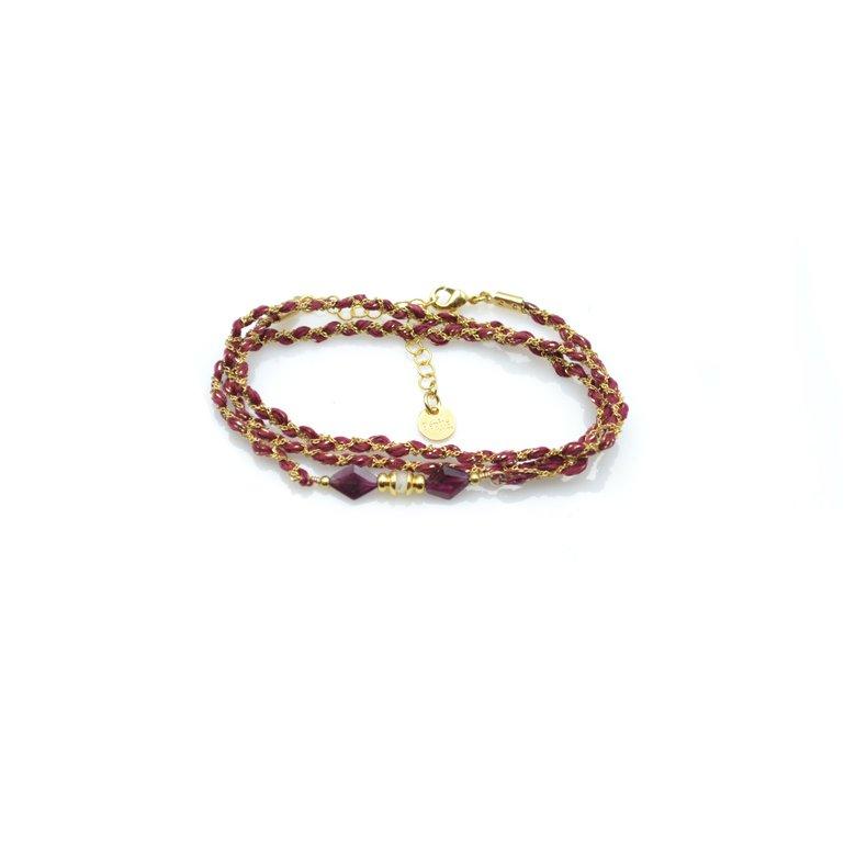 bracelet tréssé, bracelet multi-tours rio,plaqué or, grenat, créateur de bijoux fantaisie paris, bijoux fantaisie