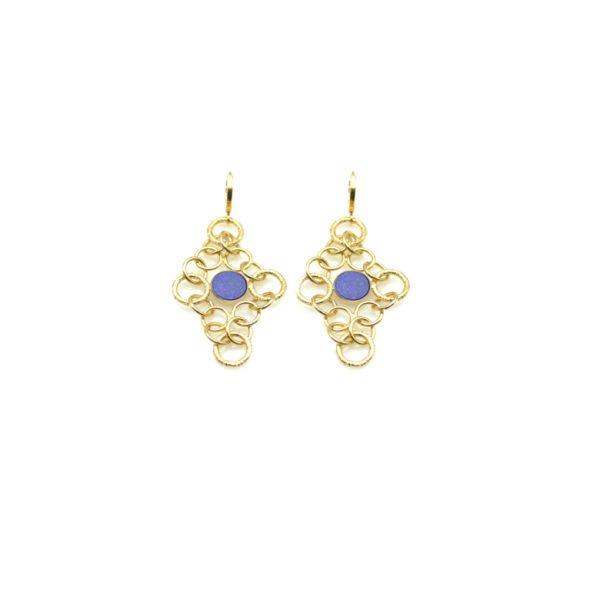 boucles d'oreilles, roxane,plaqué or,pepite bijoux,paris,rue st honoré,paris, lapis lazuli