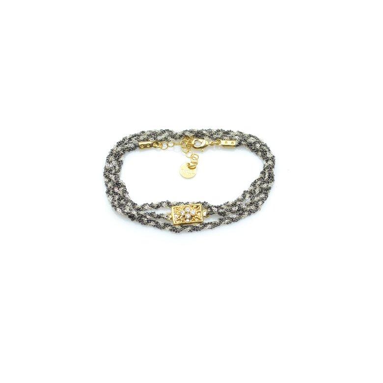bracelet,chaine tréssé, tara,plaqué or,pepite bijoux,paris, bracelet tressé, créateur de bijoux fantaisie paris