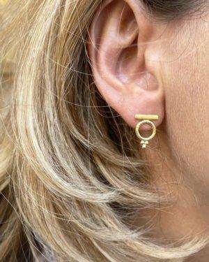 Boucles d'oreilles ,dally,plaque or,pepite bijoux,paris,france,st honoré