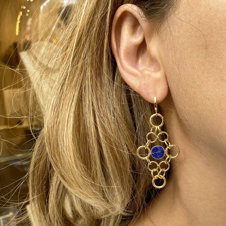 Boucles d'oreilles ,roxane,lapis lazuli,plaque or,pepite bijoux,paris,france,st honoré