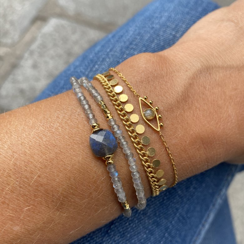 bracelet double tour, pierre labradorite leticia, créateur de bijoux fantaisie paris, bijoux fantaisie