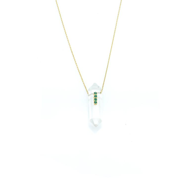 Cristal de roche,emeraude,pépite bijoux,paris,france,plaqué or,talissement