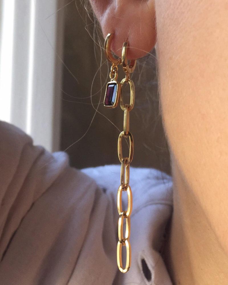 Boucles d'oreilles pendantes maillons, boucles d'oreilles fantaisie, créateur de bijoux fantaisie, bijoux fantaisie, boucles d'oreilles plaqué or