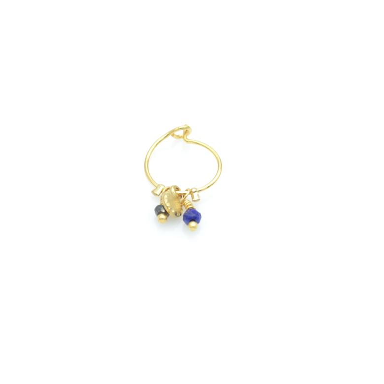 boucle d'oreille ,unitée,eyota,paris,plaqué or, france,pépite bijoux,gold plated,lapis