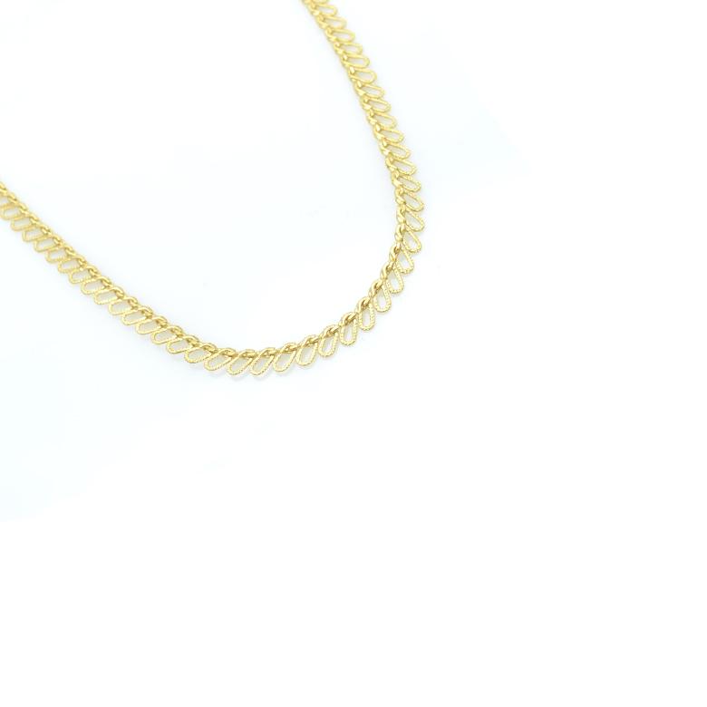 Créateur de bijoux Paris, choker fin, collier ras du cou à maillons ovales, seventy, bijoux fantaisie, collier ras du cou fantaisie, collier choker plaqué or
