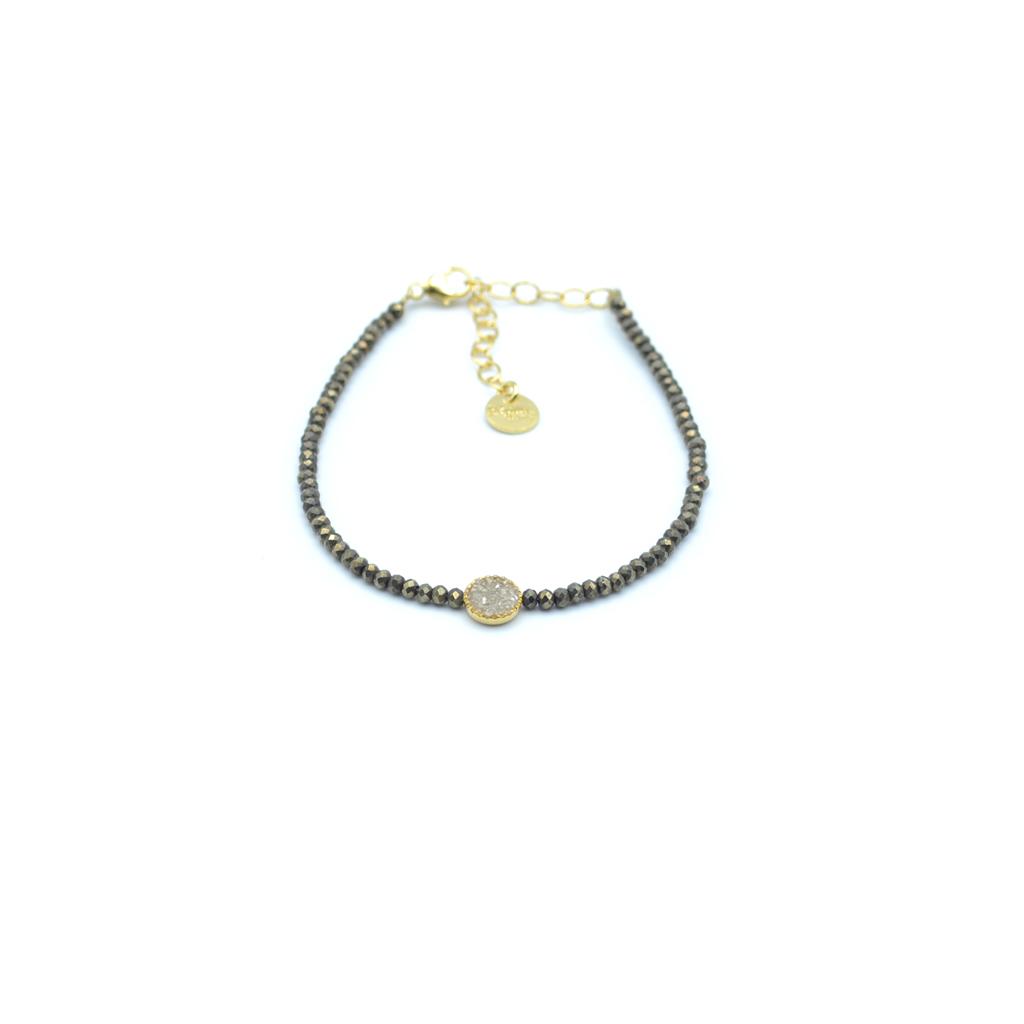 lia,bracelet,pyrite,diamant, bracelet spinelle noir, créateur de bijoux paris