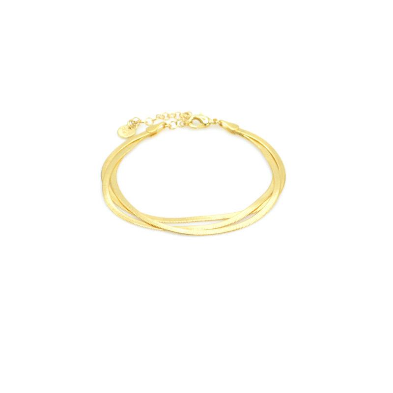 bracelet argent, bracelet maille, bracelet maille anglaise, Bracelet maille anglaise multi-rangs, bracelet maille plate, bracelet maille serpent, bracelet or femme, créateur de bijoux fantaisie, ethel