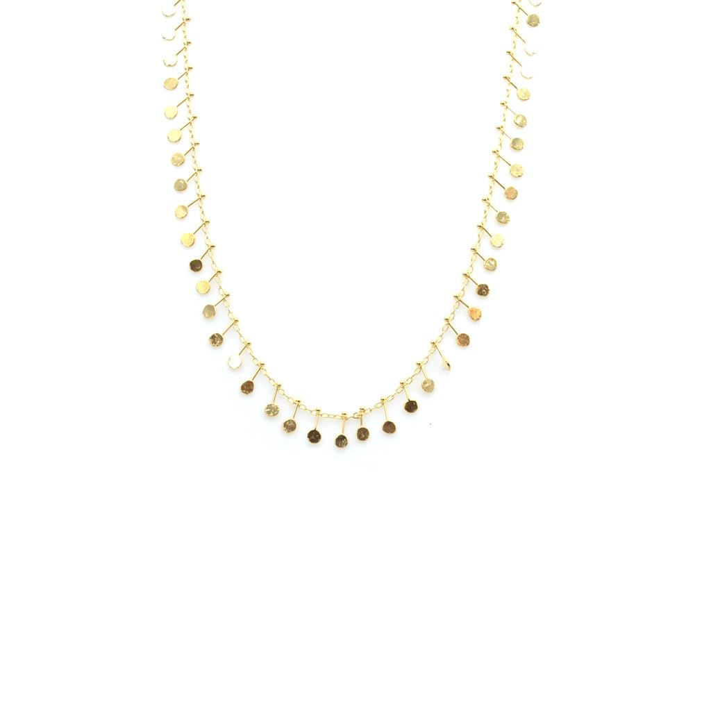 bijoux bohème, bijoux créateur, Collier breloques, collier femme, collier pampilles, collier pastilles, collier plaqué or
