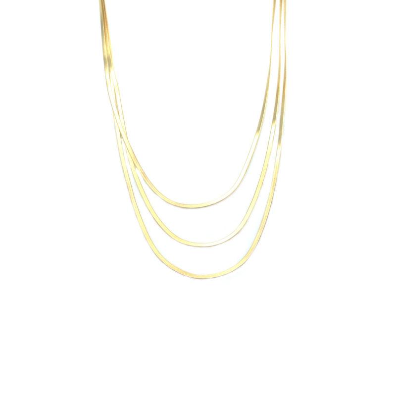 bijoux de créateur paris, collier maille, collier maille anglaise, Collier maille plate, collier maille serpent, collier plaqué or, ethel