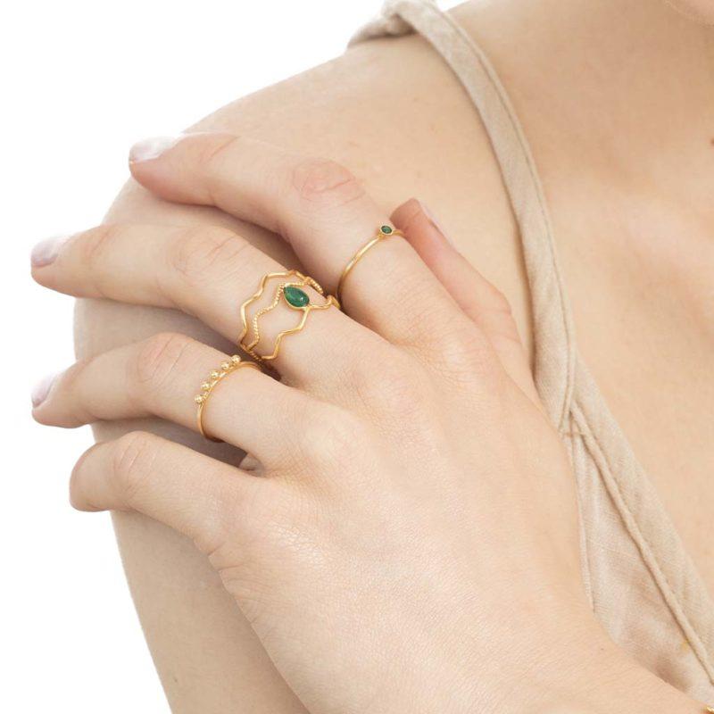 bagues plaqué or malachite, bagues en malachite, créateur de bijoux fantaisie paris, bague plaqué or pour femme