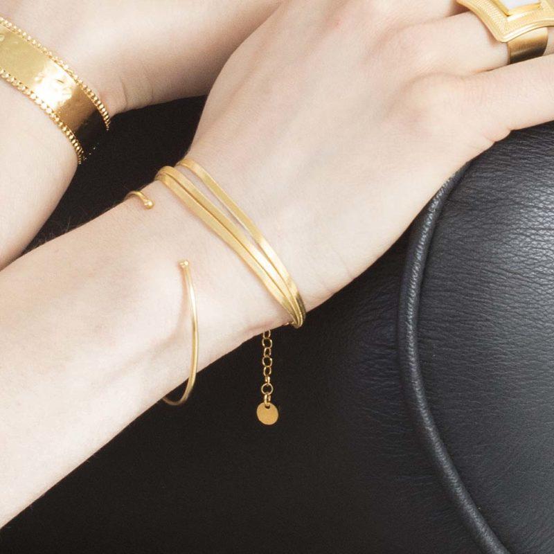 Bracelet 3 rangs en plaqué or femme, bracelet 3 rangs maille anglaise en plaqué or, bracelet femme plaqué or, bracelet maille anglaise, bracelet fins, bijoux fantaisie femme