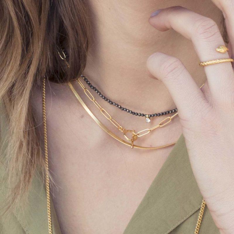 collier plaqué or maille, collier maille femme or, collier femme, bijoux fantaisie femme, créateur de bijoux fantaisie paris, bijoux fantaisie femme