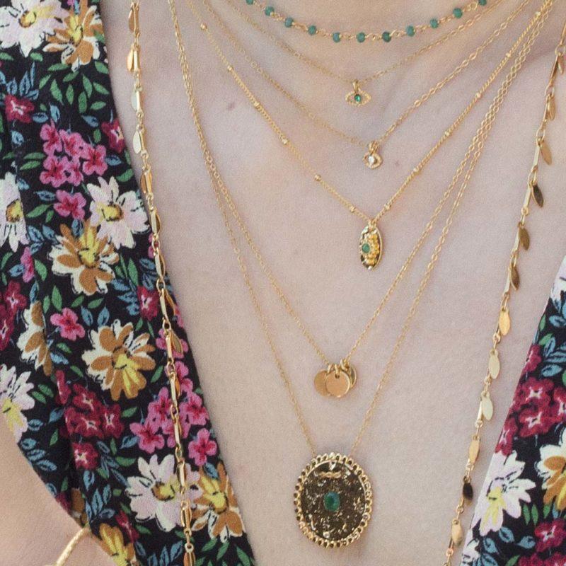 colliers Malachite, collier martelé, collier pierres naturelles