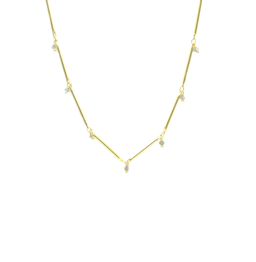 collier femme, collier perles, collier plaqué or, collier tiges, jenny