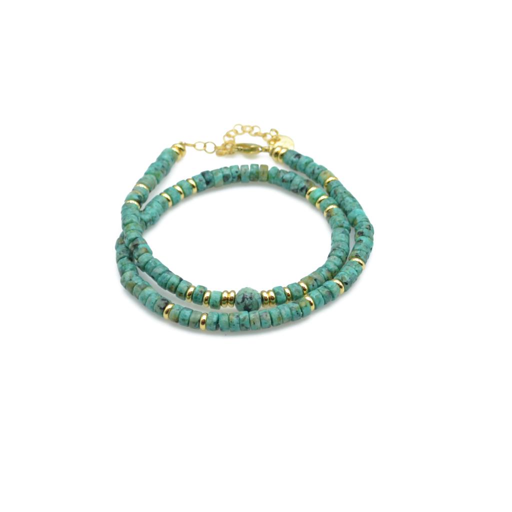 Amazonite, bracelet double tour, bracelet petites perles, dila, jaspe africain