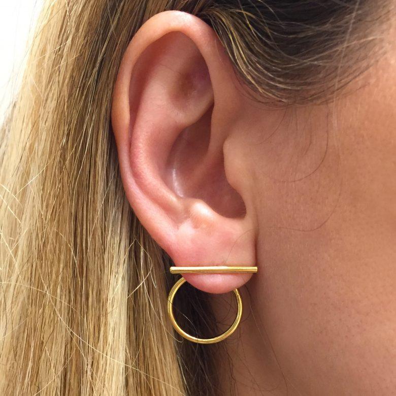 Roxane, anneau barrette, bijoux en plaqué or, bijoux femme, Boucle d'oreille créateur, boucles d'oreilles anneau, pepite bijoux