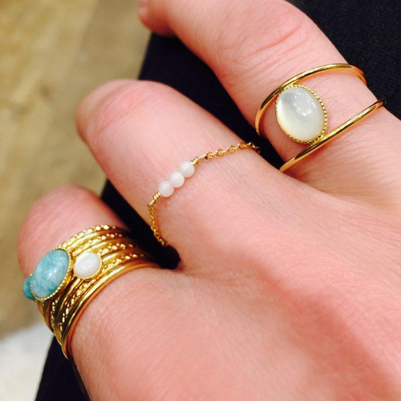 Bague anneaux martelée,photo portée
