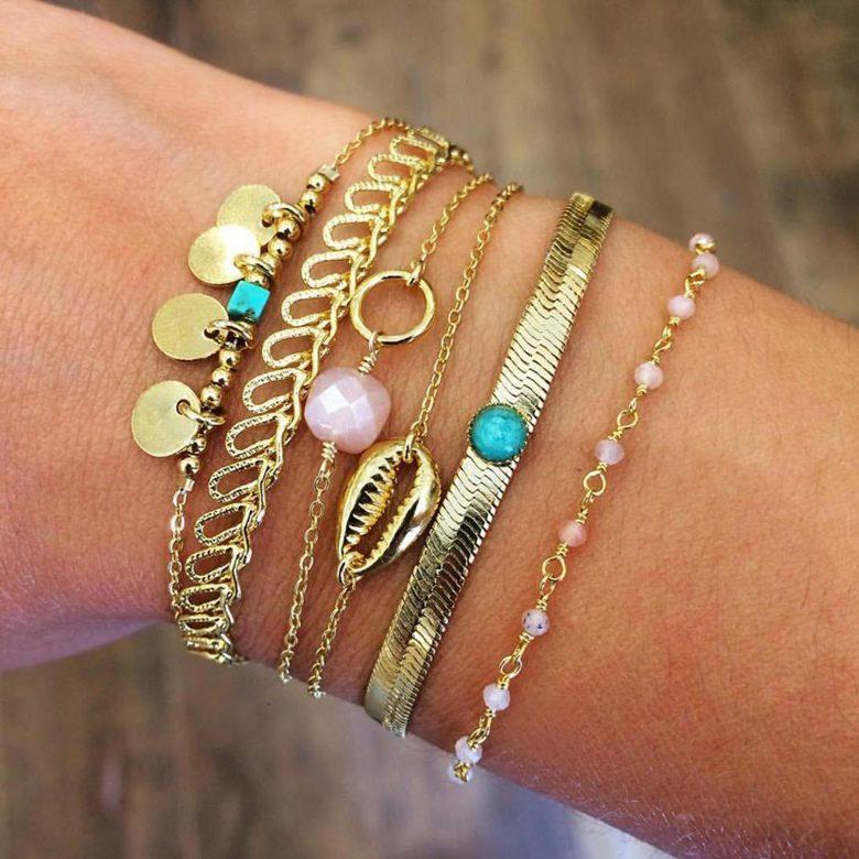 bracelet cauri, bracelet coquillage cauri, bracelet or femme, bracelet plaqué or, Créateur de bijoux, pepitebijoux