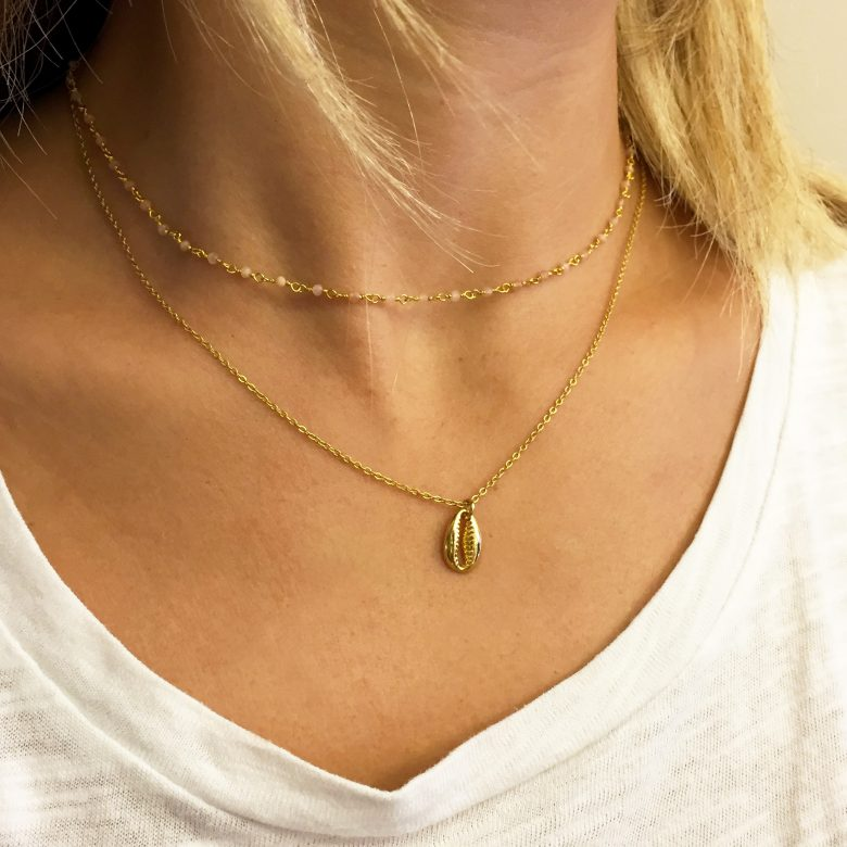 Bijoux coquillage, bijoux fantaisie, collier cauri, collier coquillage cauri, collier femme, collier or