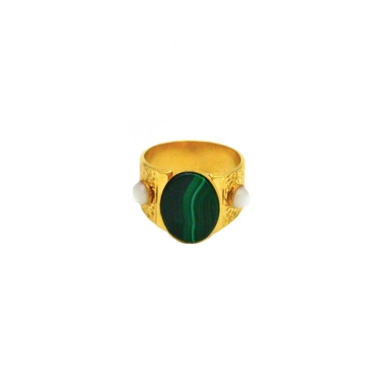 Bague,gael,malachite,pépite bijoux
