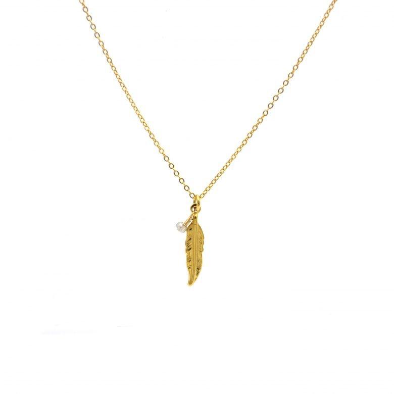 Collier collier plume et perle